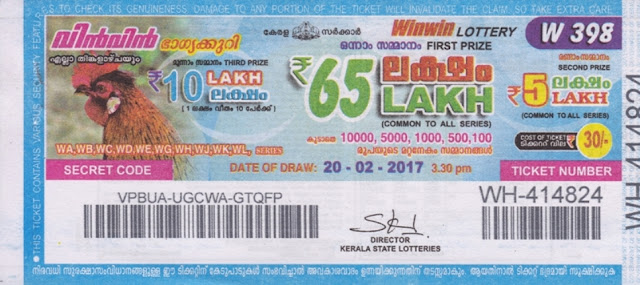 Kerala lottery result official copy of Win Win-W-215