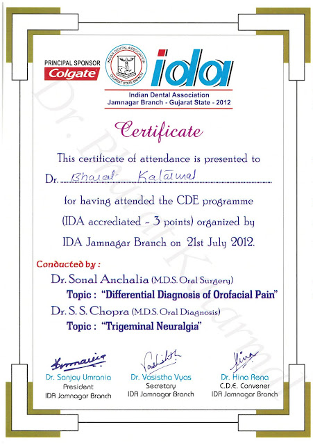 Differential Diagnosis of Orofacial Pain and Trigeminal Neuralgia at Jamnagar