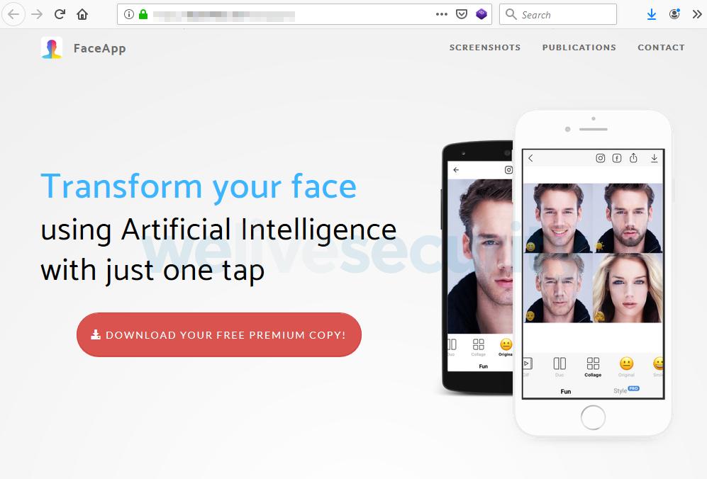 Tampilan Situs Palsu FaceApp Premium