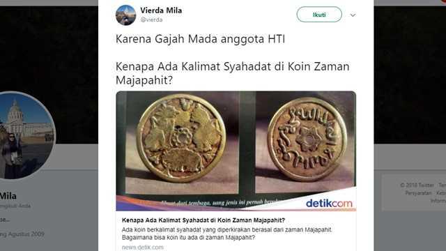 Ada Kalimat Tauhid di Koin Majapahit, Warganet: Gajah Mada Anggota HTI