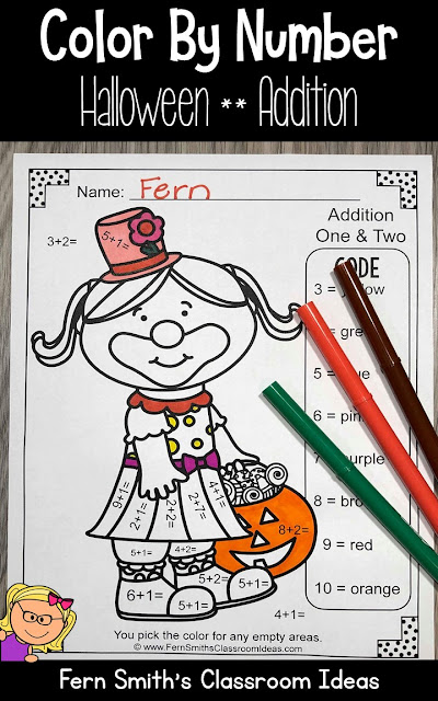 Halloween Color By Number Cute Students in Halloween Costumes for Some October Halloween Fun For Your Addition Math Lessons - For Kindergarten, First Grade and Second Grade - TeacherspayTeachers - #FernSmithsClassroomIdeas