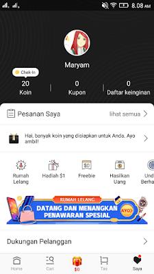 Cara Mendapatkan Dollar Gratis dari Aplikasi Vova Android