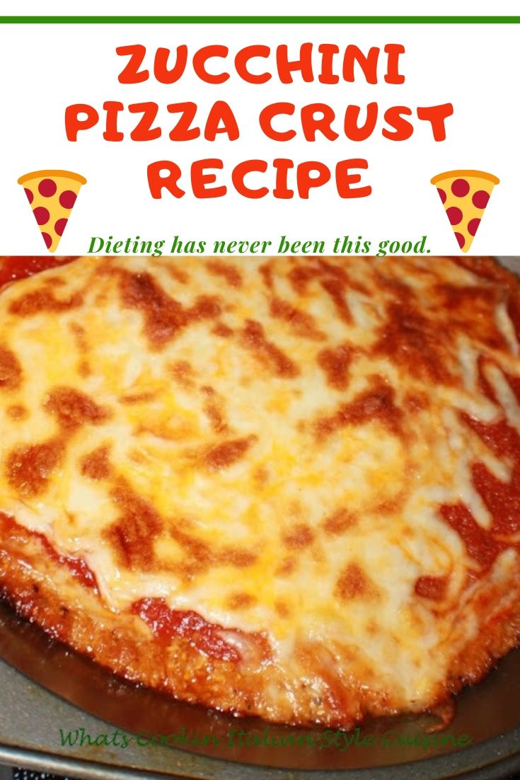 this is a pin for later how to make a zucchini pizza crust into a real great tasting pizza. This is in a pie plate that is greased and sauce is on top with melted mozzarella cheese