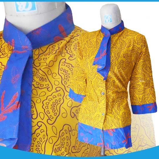 15 Model Baju Batik Kerah Bertali untuk Kerja  Model Baju Batik