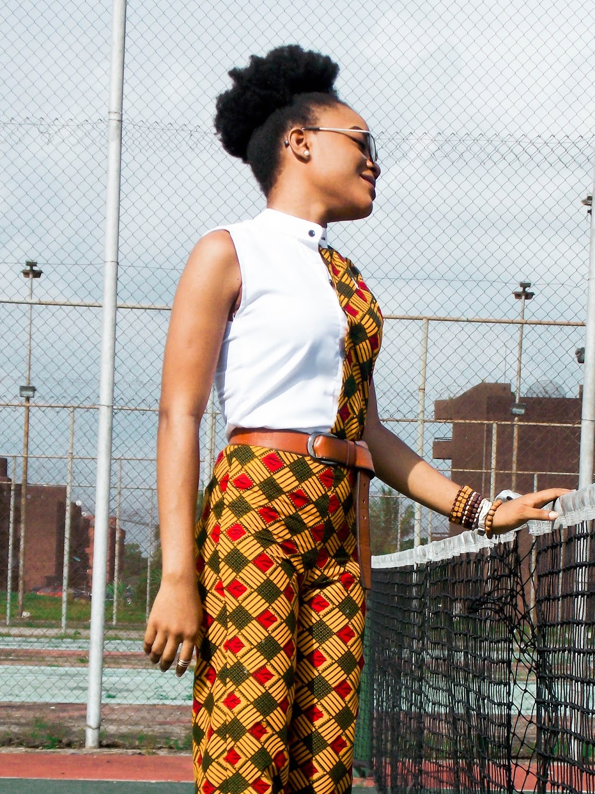african print two 2 piece outfit, ankara shirt with bishop colar