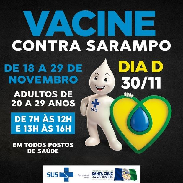 Em Santa Cruz do Capibaribe, campanha contra o sarampo para adultos terá dia D neste sábado 30