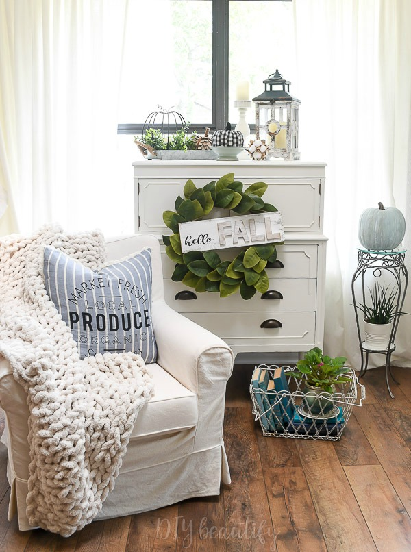 cottage home decor with whites and blues
