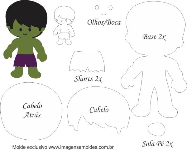 Hulk Bebé: Moldes Gratis