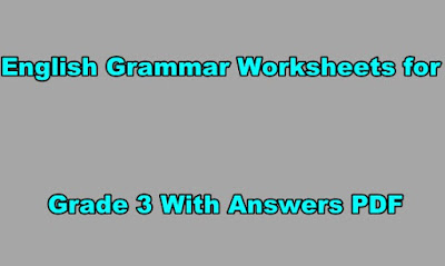 English Grammar Worksheets for Grade 3 With Answers PDF