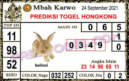 Prediksi Mbah Karwo Hk Jumat 24 September 2021