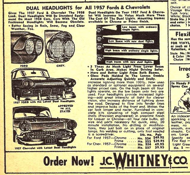 Cadillac Accessories Catalog: Just A Car Guy: Just Ugly. Anyone Seen An Old 50's Car With These JC Whitney Headlight Mods?