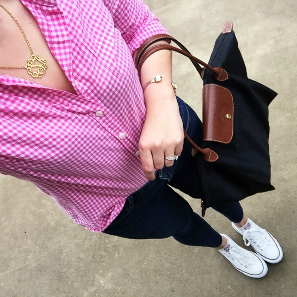 preppy style, converse, monogram necklace