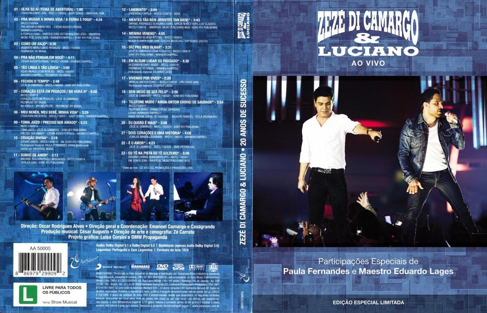 dvd zeze di camargo e luciano 20 anos 2012
