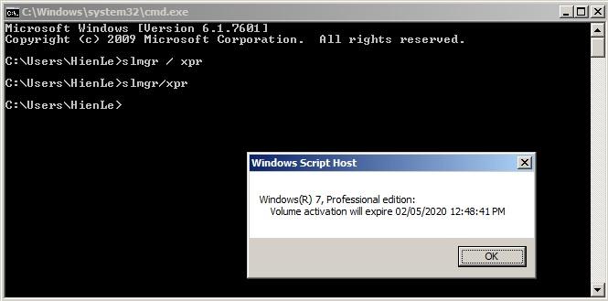 Kết quả kiểm tra Windows bản quyền và thời hạn sử dụng bằng dòng lệnh