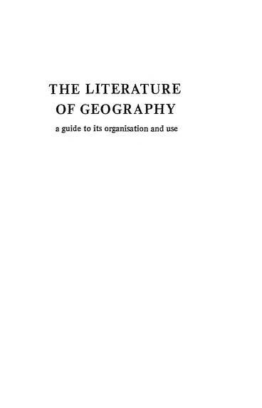 The Literature Of Geography PDF Book