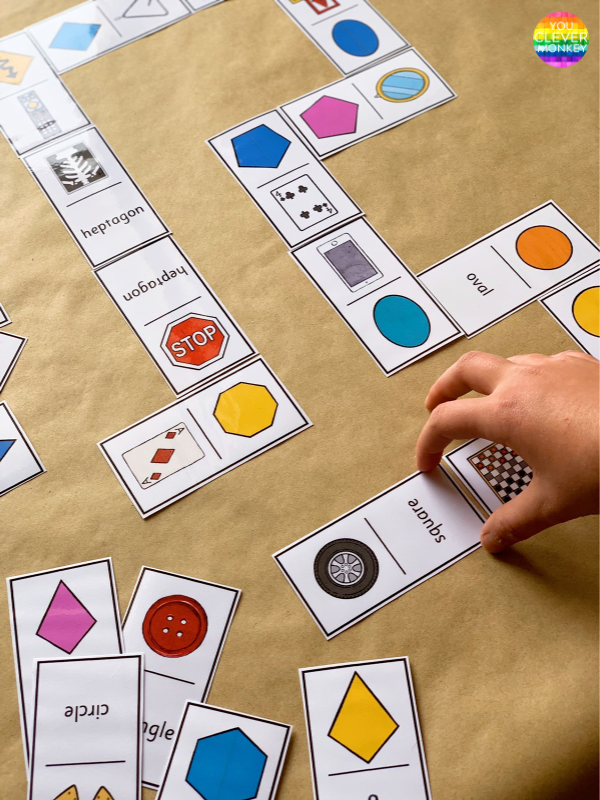 2D SHAPE GAMES - DOMINOES CARDS - hands-on fun way to learn the different 2D shape and their different representations | you clever monkey #2Dshapes #2Dshapegames #mathcenters
