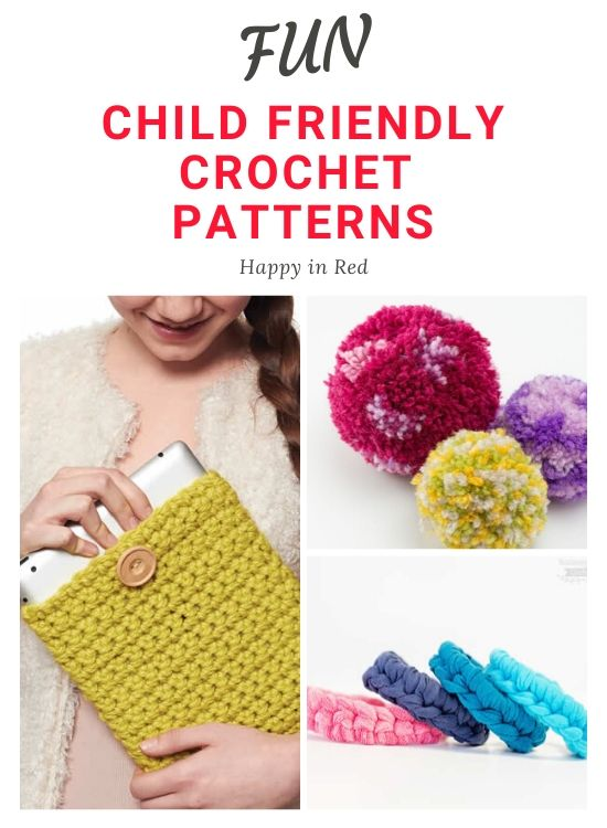 Crochet with kids, child-friendly crochet project | Happy in Red