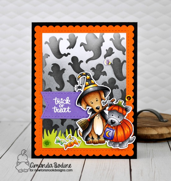 Dogs in Costumes Halloween Card by Amanda Bodine | Happy Howl-oween Stamp Set and Ghosts Stencil by Newton's Nook Designs #newtonsnook #handmade