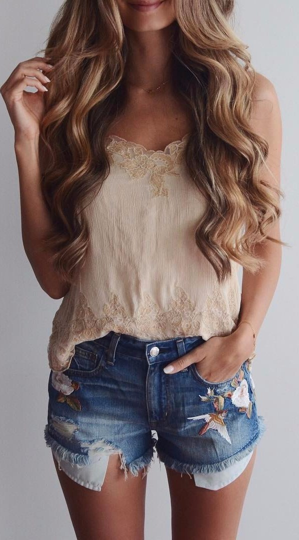 embroidered shorts \ denim obsession