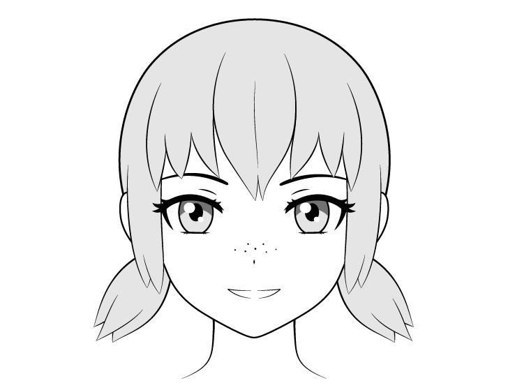 Bintik-bintik anime pada gambar hidung