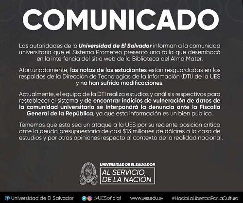 hackean universidad de el salvador comunicado