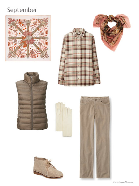 a fall and winter outfit in shades of brown with apricot