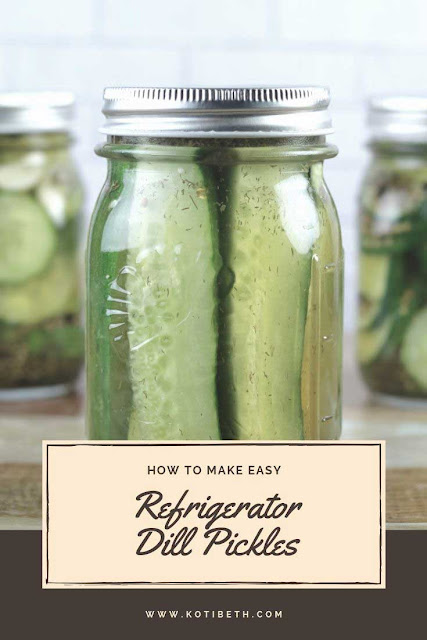 How to make easy refrigerator dill pickles. These tangy pickles are ready overnight! Use spears or sliced chips for a small batch recipe.  This DIY recipe is crunchy, crispy, and has a dill and garlic flavor. Make the best homemade quick with fresh cucumbers and dill. Make one jar or several with this easy recipe. #pickles #fridge #refrigerator #dill