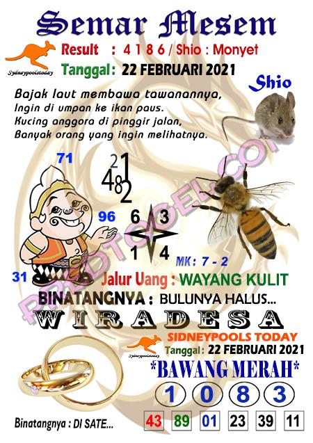 Syair Semar Mesem Sdy Senin 22 Februari 2021