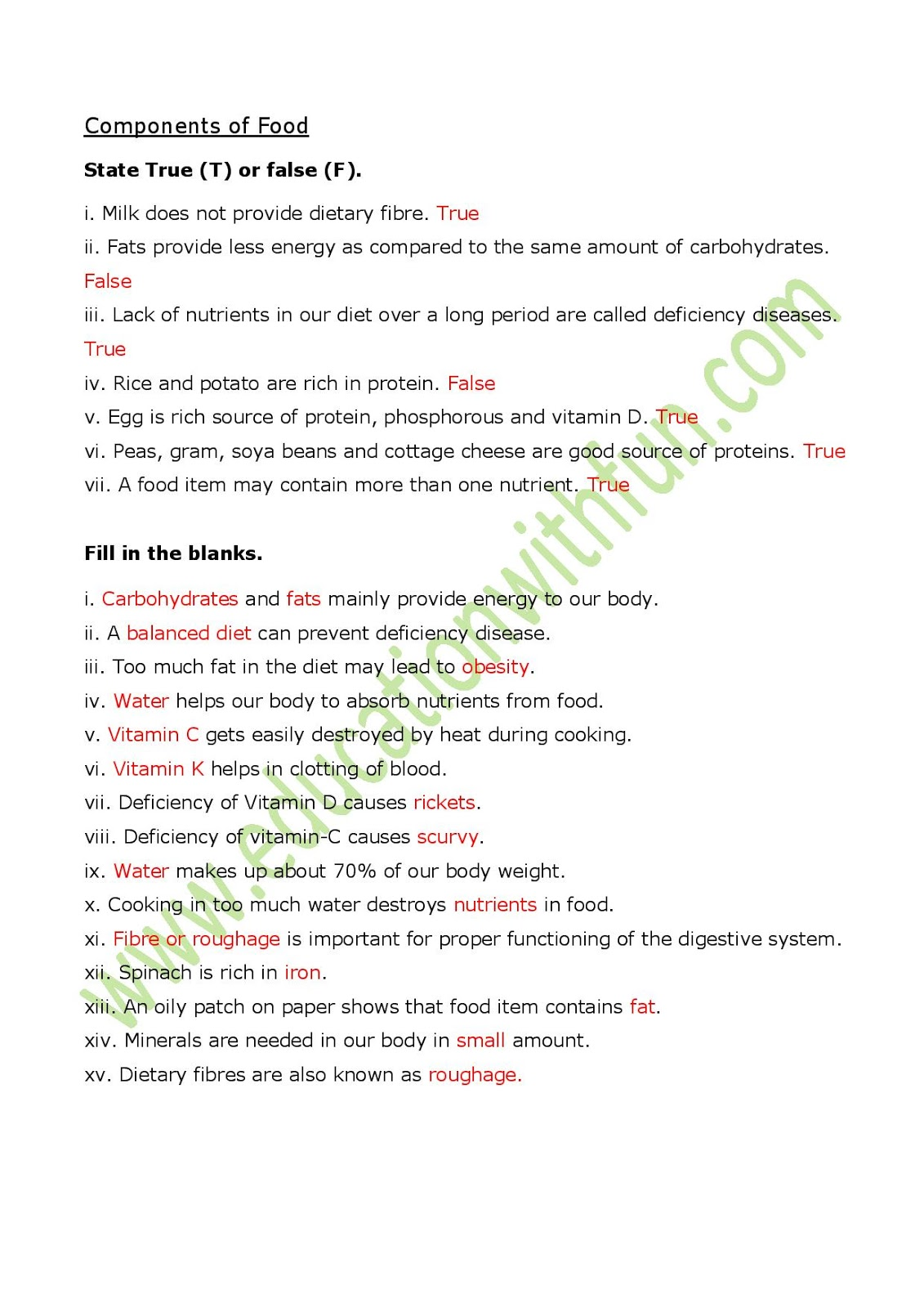 Class 6 Ch 2 Worksheet 1 Solutions