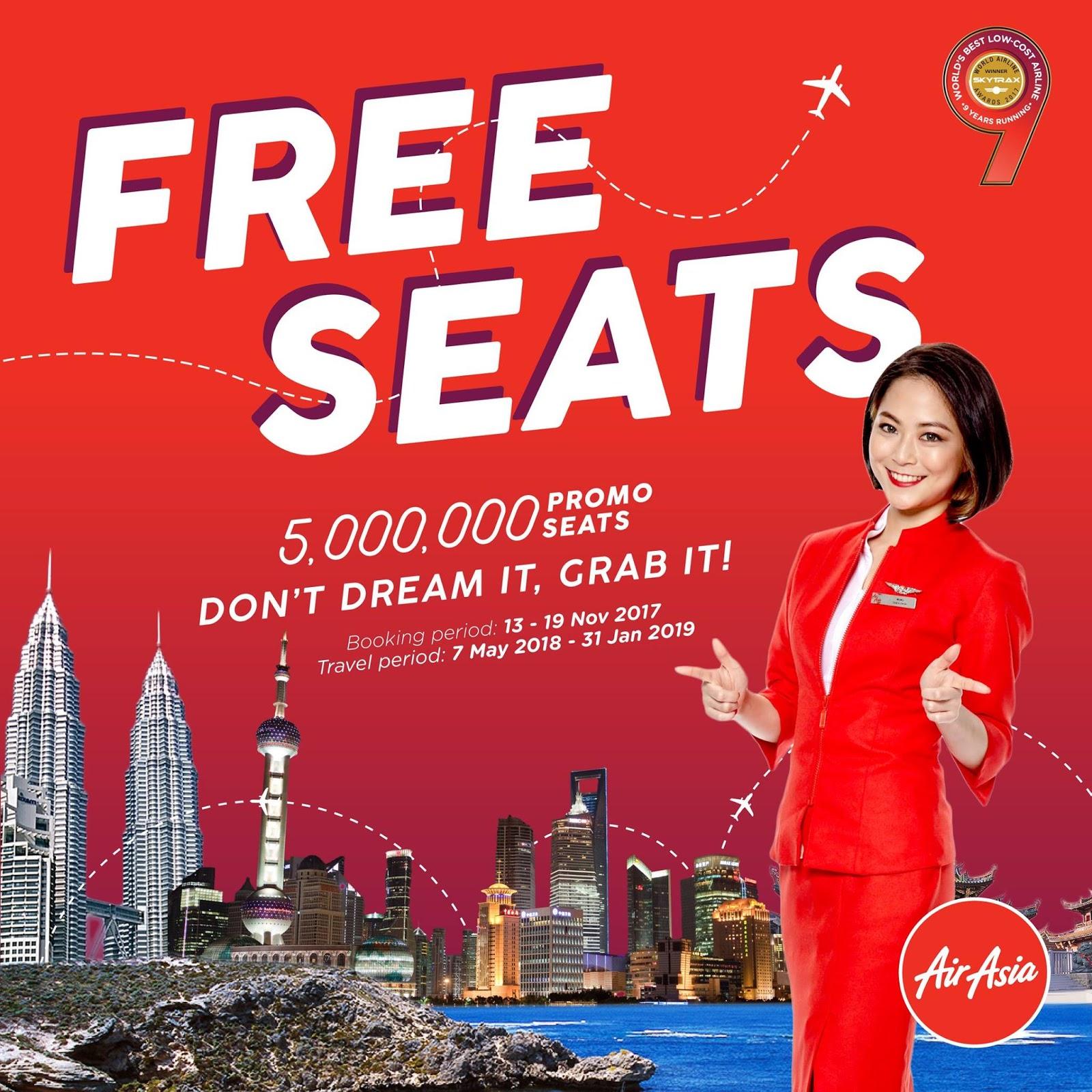 AirAsia FREE Seats Promo Ticket Price List Booking Until 19 November