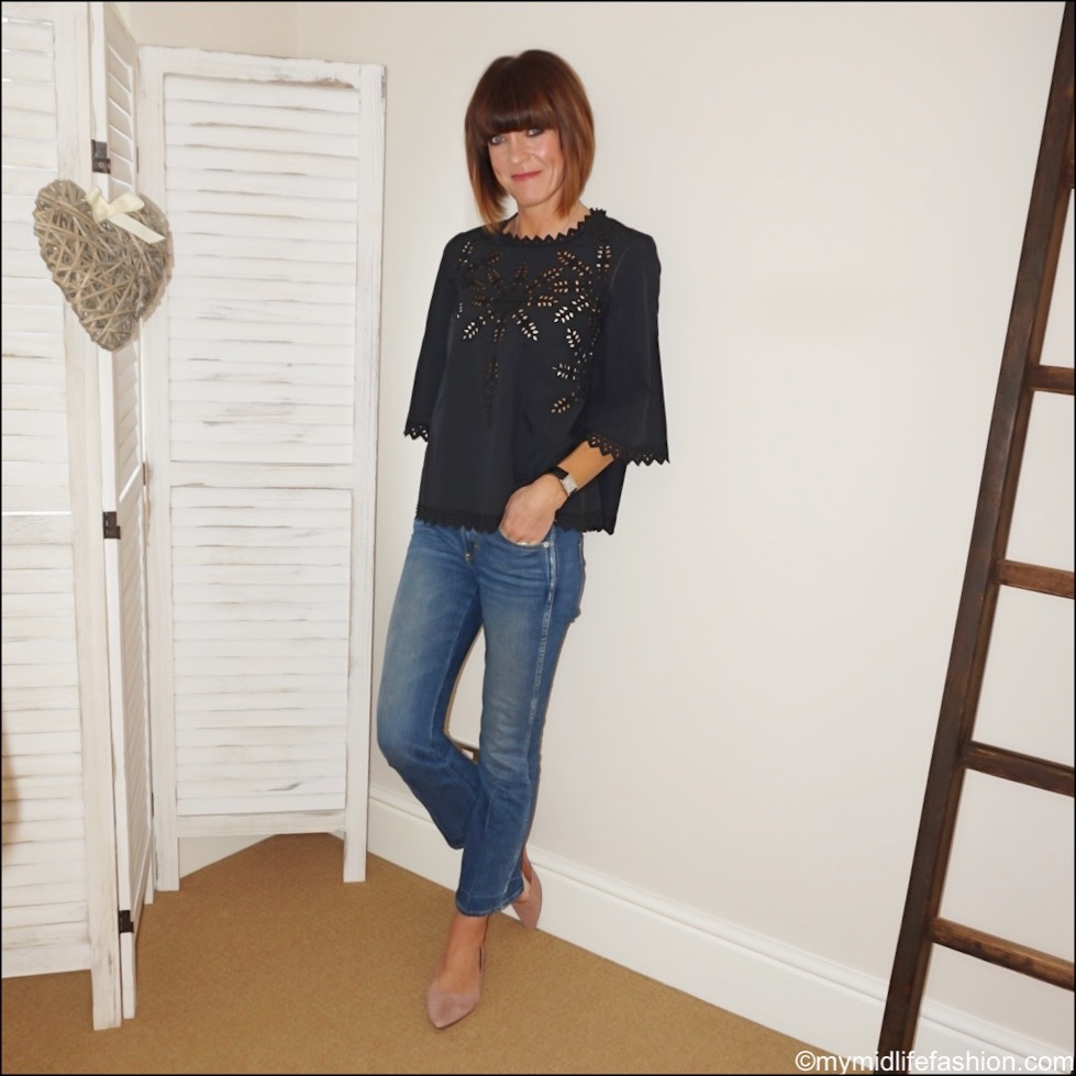 my midlife fashion, Isabel Marant Etoile broderie cotton top, j crew cropped kick flare jeans, h and m pointed suede pointed ballet pumps