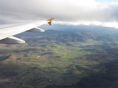 Vistas de los alrededores de Hobart desde el avión, Tasmania