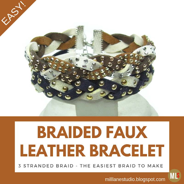 Braided bracelet stack made with studded faux suede lace