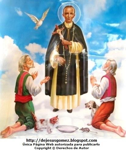 Dibujo de San Martín de Porres a colores con 2 personas rezando. Imagen de San Martín de Porres de Jesus Gómez