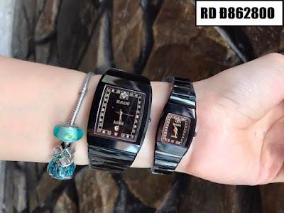 Đồng hồ nam mặt chữ nhật dây đá ceramic đen RD T862800