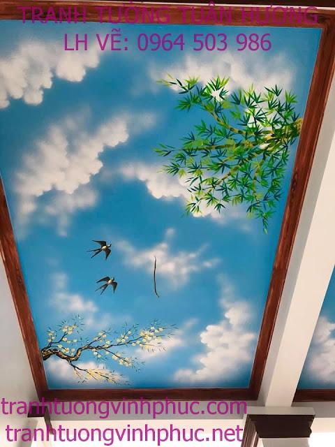 vẽ trần mây 3d và tranh tường tại ngã 4 me tam dương3