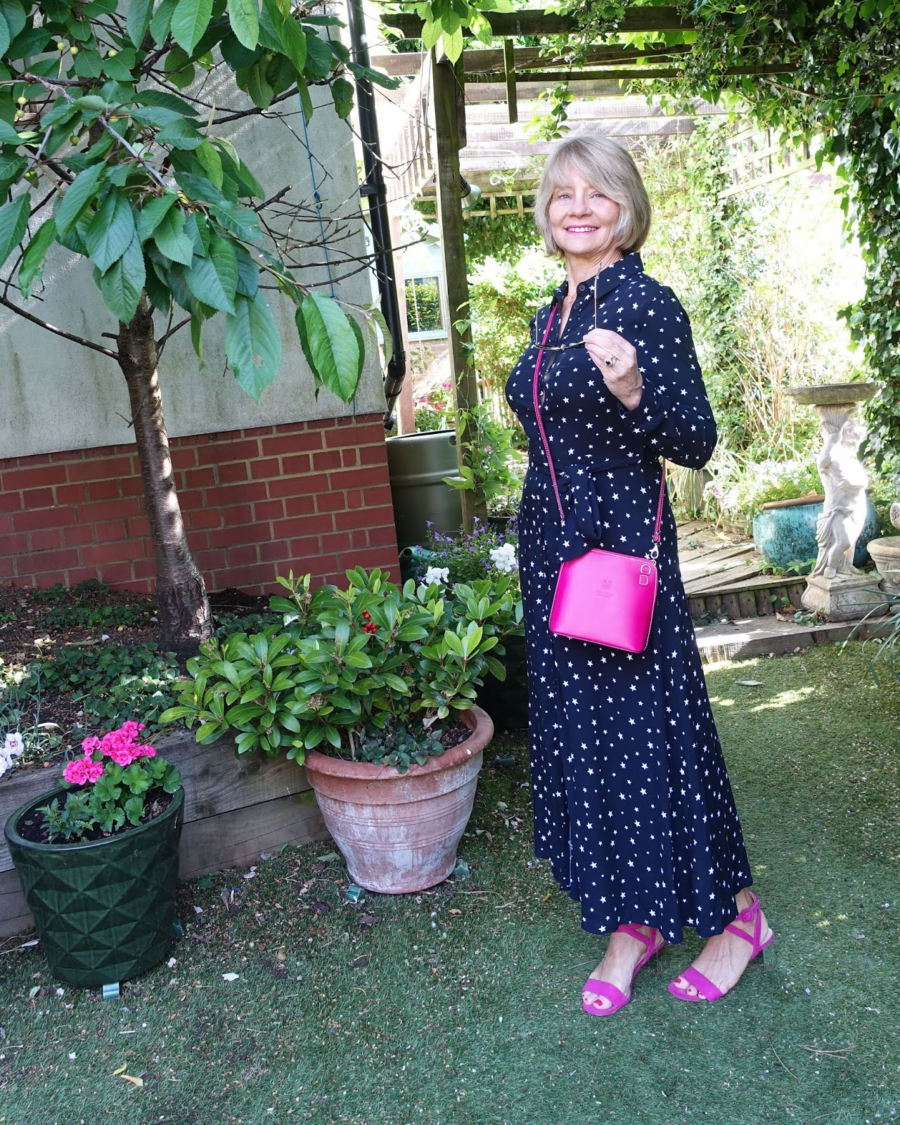 Star patterned midi shirt dress by Hush worn by Gail Hanlon from over 50s style blog Is This Mutton?