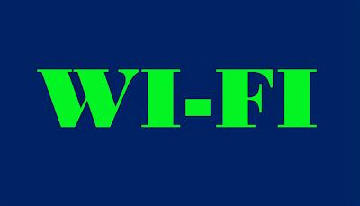"""A imagem retangular e de fundo azul e caracteres nas cores verde diz: o termo em inglês  WI-FI = """"wireless Fidelety"""", ou seja, literalmente fidelidade sem fio."""