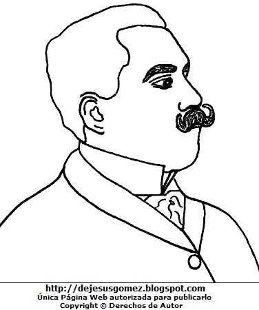 Ilustración de José Santos Chocano para colorear. Dibujo de José Santos Chocano hecho por Jesus Gómez