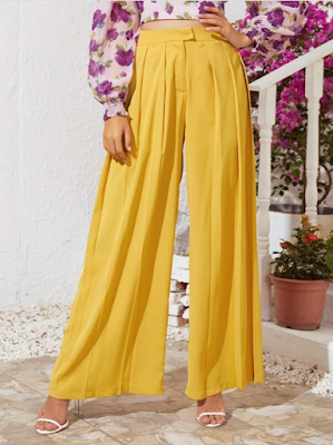 SHEIN Pleated Panel Wide Leg Pants