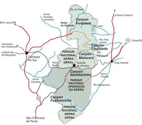 Mapa dos Canyons de Cambará do Sul