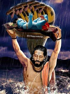 Lord Krishna With His Father Crossing Yamuna River