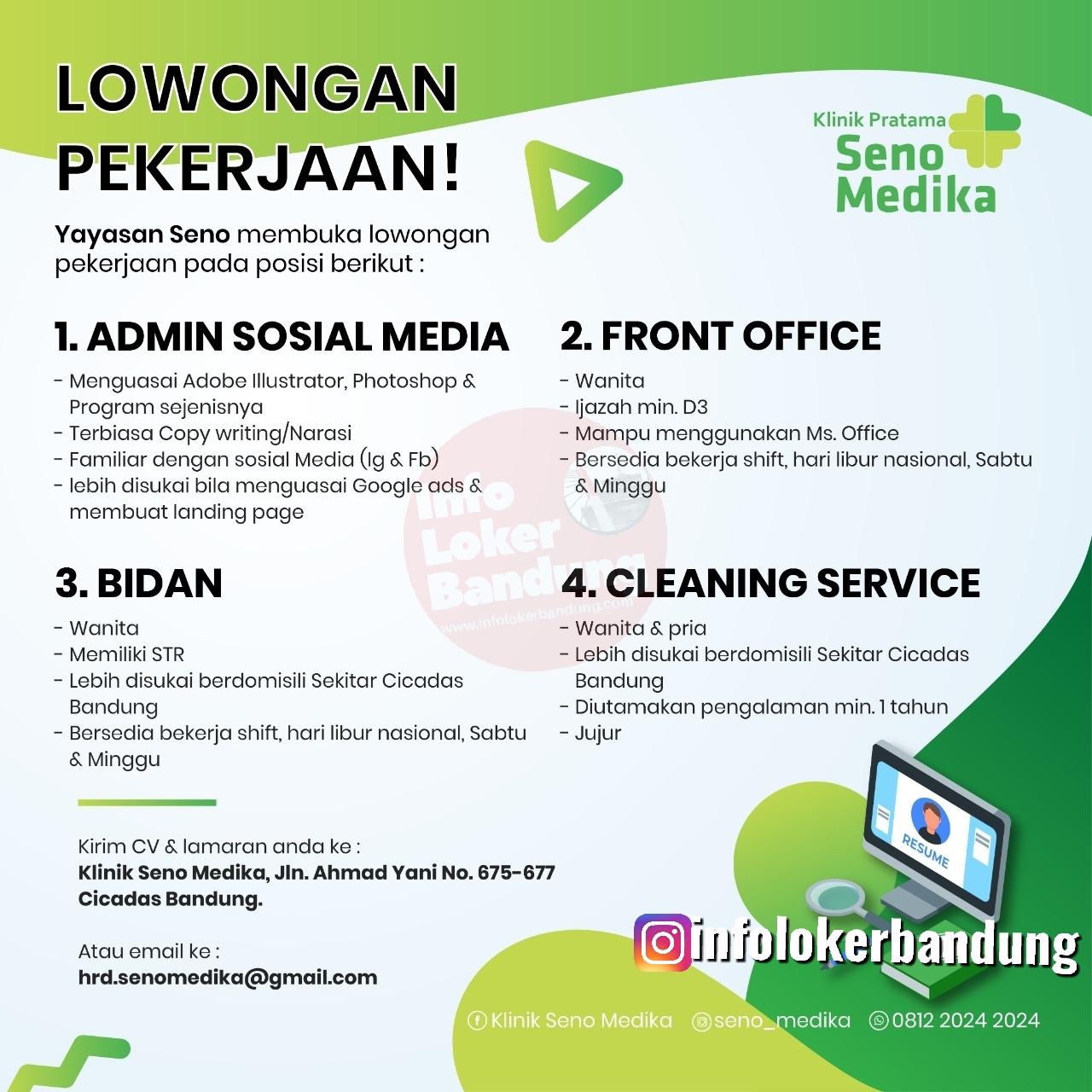 Lowongan Kerja Klinik Pratama Seno Medika Bandung Januari 2020