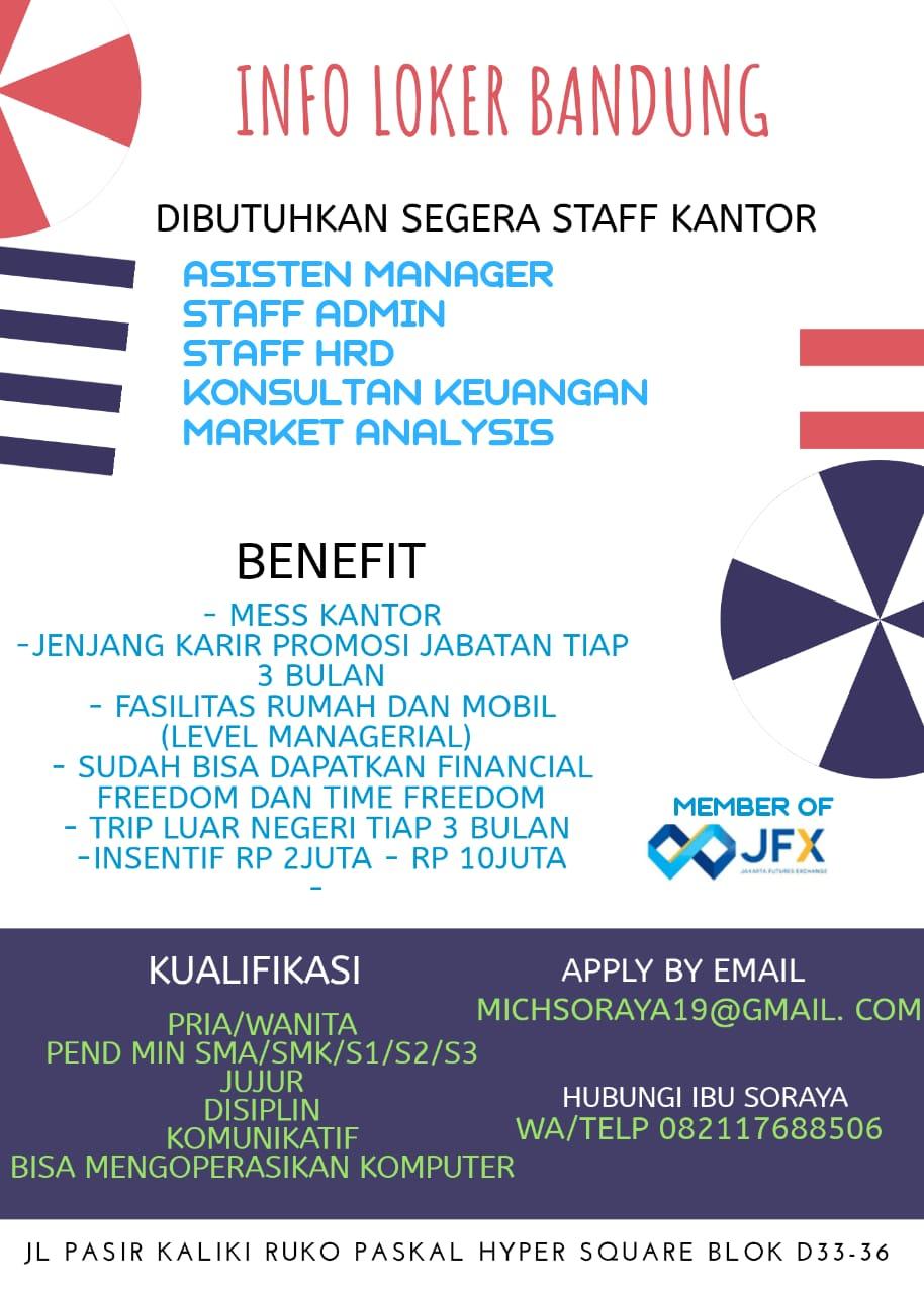 Dibutuhkan Segera Staff Kantor di Bandung Februari 2020