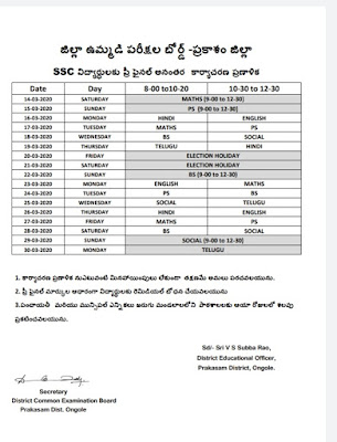 District Joint Examination Board - Prakasam Pre-Final Post-Action Plan for District SSC Students