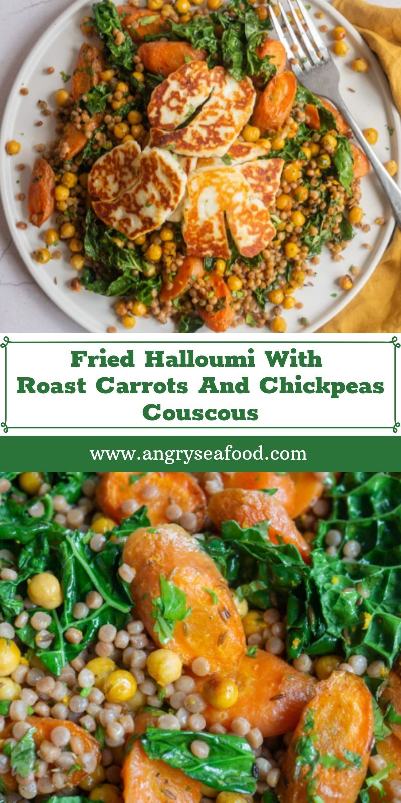 Fried Halloumi With Roast Carrots And Chickpeas Couscous