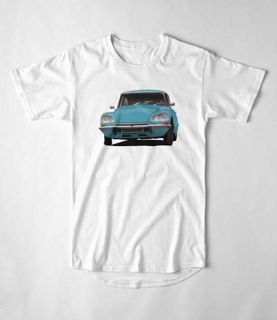 Vintage car - turquoise Citroën DS - T-shirt