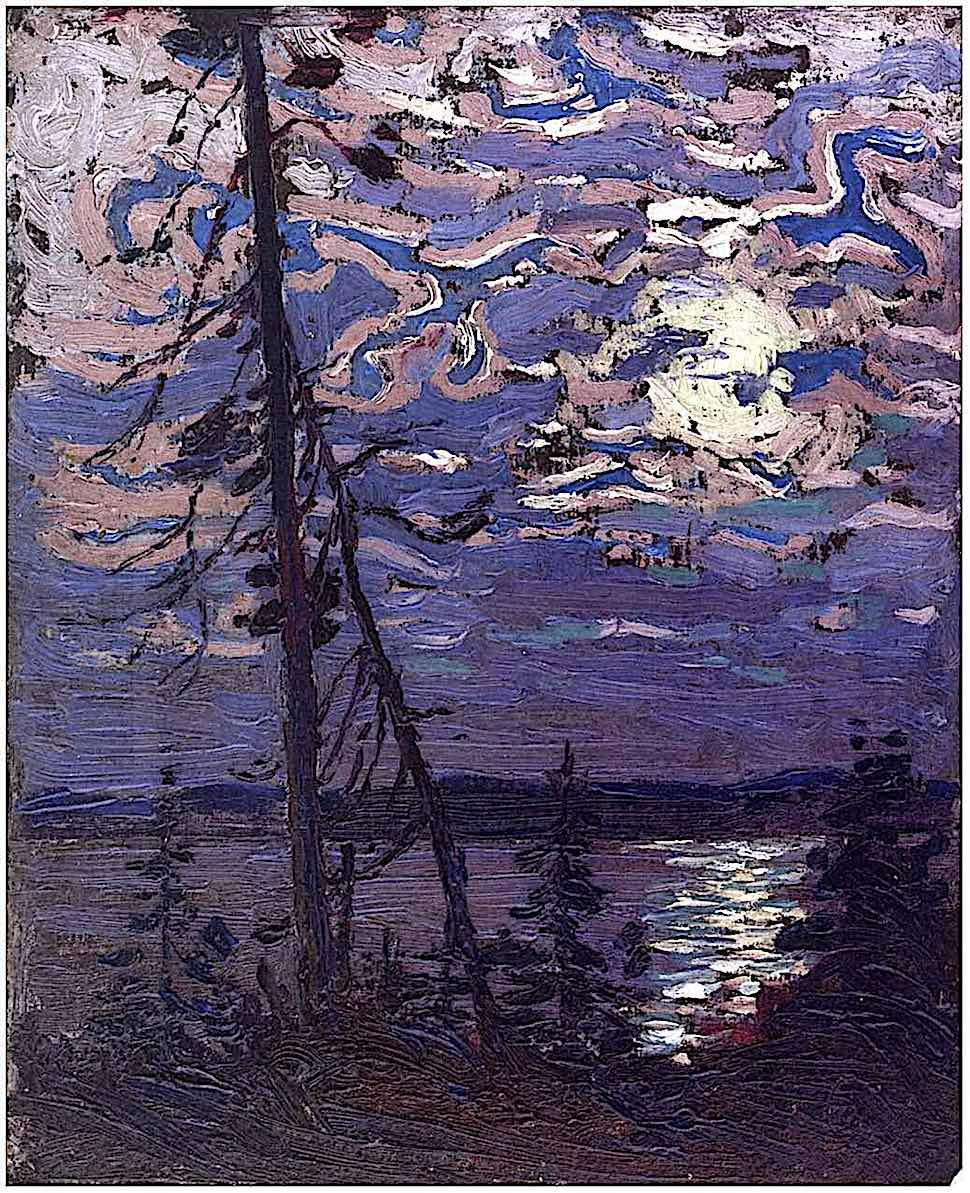 a Tom Thompson 1915 painting of the moon in a purple sky