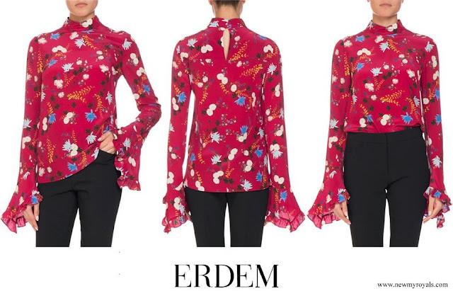 Crown Princess Mary wore ERDEM Lindsey Floral Mock-Neck Ruffle Sleeve Top