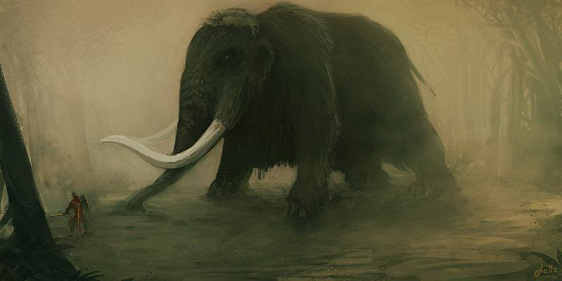 The Commander and The Youngman: Indonesian Short Story for Children Image Man vs Elephant Mammoth Fight Illustration Art by steenhuisen.deviantart.com
